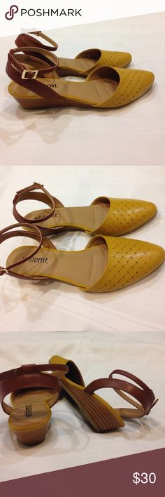 Gorgeous Mustard Wedge sandals Seriously cute low wedge sandal with rounded point toe and ankle & heel strap. Worn only once, in perfect condition. Whitemt. Shoes Wedges