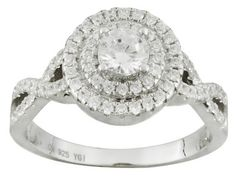 Bella Luce (R) 1.45ctw Round Rhodium Plated Sterling Silver Ring