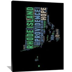 "Naxart 'Rhode Island Word Cloud 2' Textual Art on Wrapped Canvas Size: 32"" H x 24"" W x 1.5"" D"