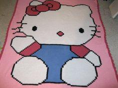 Hello Kitty crocheted character blanket