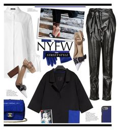 """""""NYFW Street Style: Day One"""" by hamaly ❤ liked on Polyvore featuring Lands' End, Topshop, Chanel, Dolce&Gabbana, StreetStyle, NYFW and ootd"""