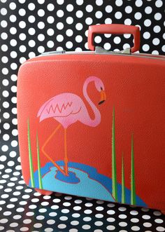 (vu) Retro Royal Traveller Suitcase with Original Hand-Painted Flamingo Art