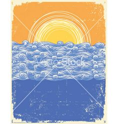 Vintage sea background vector - by GeraKTV on VectorStock®