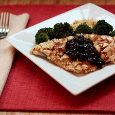 Almond Crusted Chicken with Cherry Balsamic Sauce - Improv Cooking Challenge - Cupcakes & Kale Chips