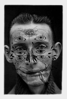 """Ashkan Honarvar - Faces, 2009 - pen on photograph """"Beauty comes in all shapes and sizes. It occurs in places you least expect, revealing its art in the human body, but also cruelly absent in the presence of deformation and scars. Honarvar depicts an undeniable, unavoidable beauty by accepting the darker sides of human nature."""""""