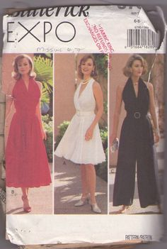 Butterick 6790 Retro 90's Sewing Pattern FABULOUS Expo Marilyn Monroe 7 Year Itch Style Surplice Halter Top Flared Skirt Cocktail Party Dres...