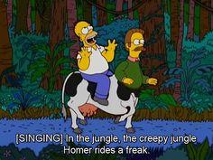 En la selva montando un monstruo Homero es feliiiiz
