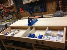 Kreg jig Workstation with storage. I need one of these for my jig/workstation