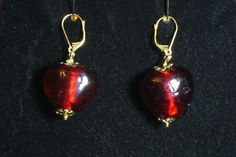 Red Heart Earrings by ShamamasTreasures on Etsy