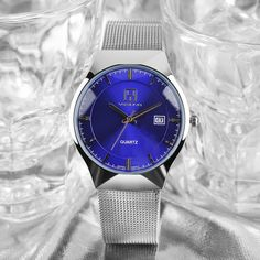 YISUYA High Quality Modern Fashion Men Quartz Wristwatch Blue Date Display Dial Stainless Steel Band Creative Male Watch Gift  #Affiliate