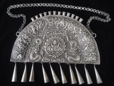 Old China Miao Folk Silver Dragon Necklace Pendant 19C