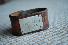 Leather Cuff with metal hand-stamped plate