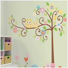 Vogel, reminds me of your bedding.Owls Scroll Tree Wall Decals for Kids Rooms - Owl-themed Nursery - Owl Nursery Decor - Large Adhesive Owl Tree Wall Decals for Nursery, Kid's Room or a Playroom Owl Nursery Decor, Nursery Themes, Girl Nursery, Nursery Room, Themed Nursery, Child's Room, Church Nursery, Nursery Ideas, Nursery Inspiration