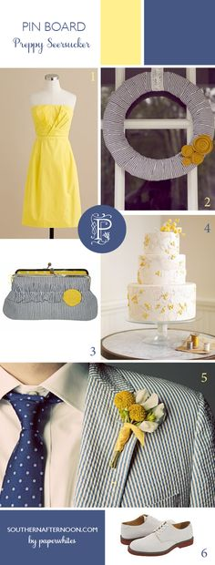 Great preppy blue seersucker wedding with yellow. Men's seersucker suit, great yellow J Crew bridesmaid dress, cool handmade wreath, Great billy ball boutonniere, pretty cake and amazing clutch from etsy