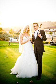 Bride and Groom play a quick round of croquet // Weddings at The Crosby in Rancho Santa Fe