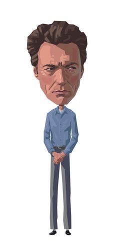 Clint: Escape from Alcatraz by Mitch Frey, via Behance Clint Eastwood, Eastwood Movies, Caricatures, Pop Culture, Star Wars, Behance, Portraits, Actors, Film