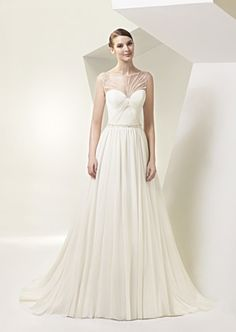 Illusion Neckline Wedding Dress by Enzoani