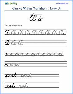 Cursive handwriting Letter Worksheet screenshot from K5 Learning