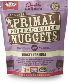 Primal Turkey Formula Nuggets Freeze-dried Cat Food offers the convenience and benefits of a well-balanced, safe and wholesome raw-food diet without having to grind, chop, measure or mix it yourself. Only the freshest, human-grade ingredients are used, including real turkey that's free of antibiotics, steroids and added hormones. Certified organic produce, certified organic minerals and unrefined vitamins are also incorporated to fortify this complete and balanced diet. The combination…