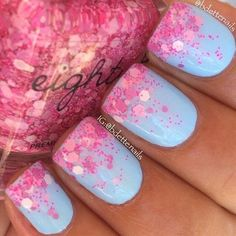 blue and pink nails for spring