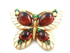 Vintage Crown Trifari L'Orient Glass RS Butterfly Pin