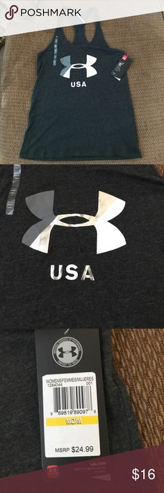 """BNWT UA Tank BNWT UA tank. It is a loose fitting razor back tank. It has the UA symbol with the words """"USA"""" under it. Under Armour Tops Tank Tops"""