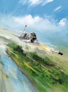 Crusader Sidewinder Art by Julien Lepelletier Airplane Fighter, Airplane Art, Fighter Aircraft, Fighter Jets, Aviation Theme, Aviation Art, Military Jets, Military Aircraft, Vietnam War