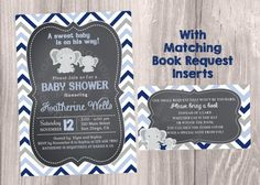 Chalkboard Baby Shower Invitation, Grey and Blue Chevron invitations, Elephants Baby Shower. Grey and Navy Invites. Digital file.