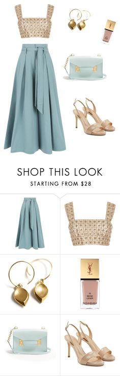 """""""Blue & Gold"""" by laura-uzan ❤ liked on Polyvore featuring Temperley London, Burberry, Yves Saint Laurent, Sophie Hulme and Giuseppe Zanotti"""