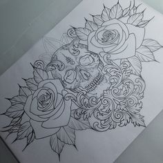 More skulls and roses please!    •  #customtattoo #daysession #skulltattoo…