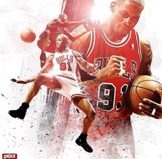 Basketball Posters, Basketball Is Life, Power Forward, Nba League, Scottie Pippen, Dennis Rodman, New Orleans Pelicans, African American Artist, Nba Sports