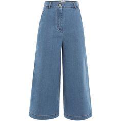 Fendi Cropped Denim Culottes (2.615 NOK) ❤ liked on Polyvore featuring pants, capris, blue, denim trousers, cropped capri pants, crop pants, denim crop pants and fendi