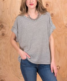 Look what I found on #zulily! Miss Lily Gray Stripe Cape-Sleeve Top by Miss Lily #zulilyfinds