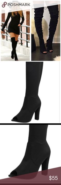 OVER THE KNEE OPEN TOE BOOT OVER THE KNEE OPEN TOE BOOT A flirty peep toe and comfortable  heel set the foundation for a velvety-soft over-the-knee boot with a lace-tie closure.               Price firm  Ship next day  Run true to size  Color: black and taupe  Sizes: 5.5 -10 Questions lest me know. Follow us on  Instagram  @shoetemptations Shoes Over the Knee Boots