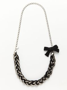 Cara Couture Jewelry Black Fabric Braided Necklace