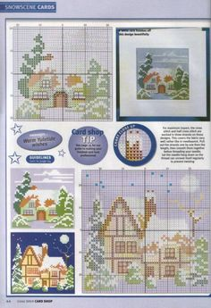 Snow Scenes • 1/3 Charts – I think these would be nice worked together as a village scene