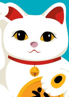 <3 Maneki Neko (lucky cat) is often believed to bring good luck to the owner. The figurine depicts a cat (traditionally a calico Japanese Bobtail) beckoning with an upright paw.