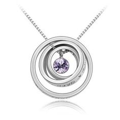 crystals 18k gold plated concentric circles pendant