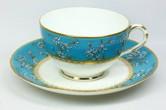 Royal Worcester Cup and Saucer with Raised Enamel Decoration