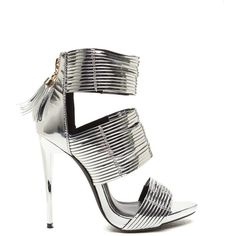 Dusk To Dawn Strappy Metallic Heels SILVER ($40) ❤ liked on Polyvore featuring shoes, metal, silver platform shoes, silver metallic shoes, strappy shoes, high heel stilettos and peep-toe shoes