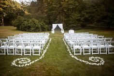 Outdoor ceremony on Founder's Lawn at the Dane Estate at Pine Manor College