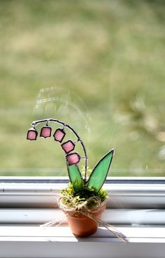 Stained Glass Suncatcher Mini Lily of The Valley 3d by GalaGardens, $9.50