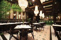 Peranakan tiles accent the National Kitchen's main dining room.