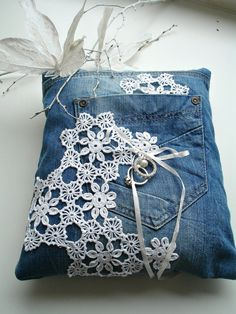 Ringbearer Pillow  with recycled denim and by WHITEStardust, $38.00