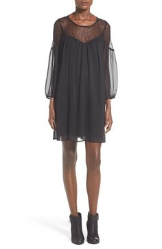Free shipping and returns on Want & Need Illusion Yoke Shift Dress at Nordstrom.com. An illusion yoke and sheer sleeves accentuate the floatydesign of a fluid shift dressdesigned with a full, flowing silhouette.