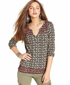 Lucky Brand Jeans Top, Short-Sleeve V-Neck Beaded - Womens Tops ...