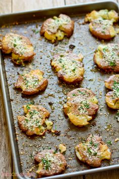 Roasted Smashed Potatoes with Italian Parsley and Parmesan