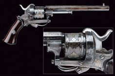 A beautiful pin-fire revolver.  provenance:Europe dating: third quarter of the 19th Century