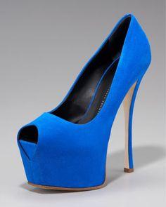 Peep-Toe Platform Pump by Giuseppe Zanotti at Neiman Marcus (Can't beat a Kentucky Blue heel!)