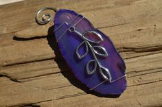 Purple Wire Wrapped Sliced Agate Ornament with a Leaf Charm